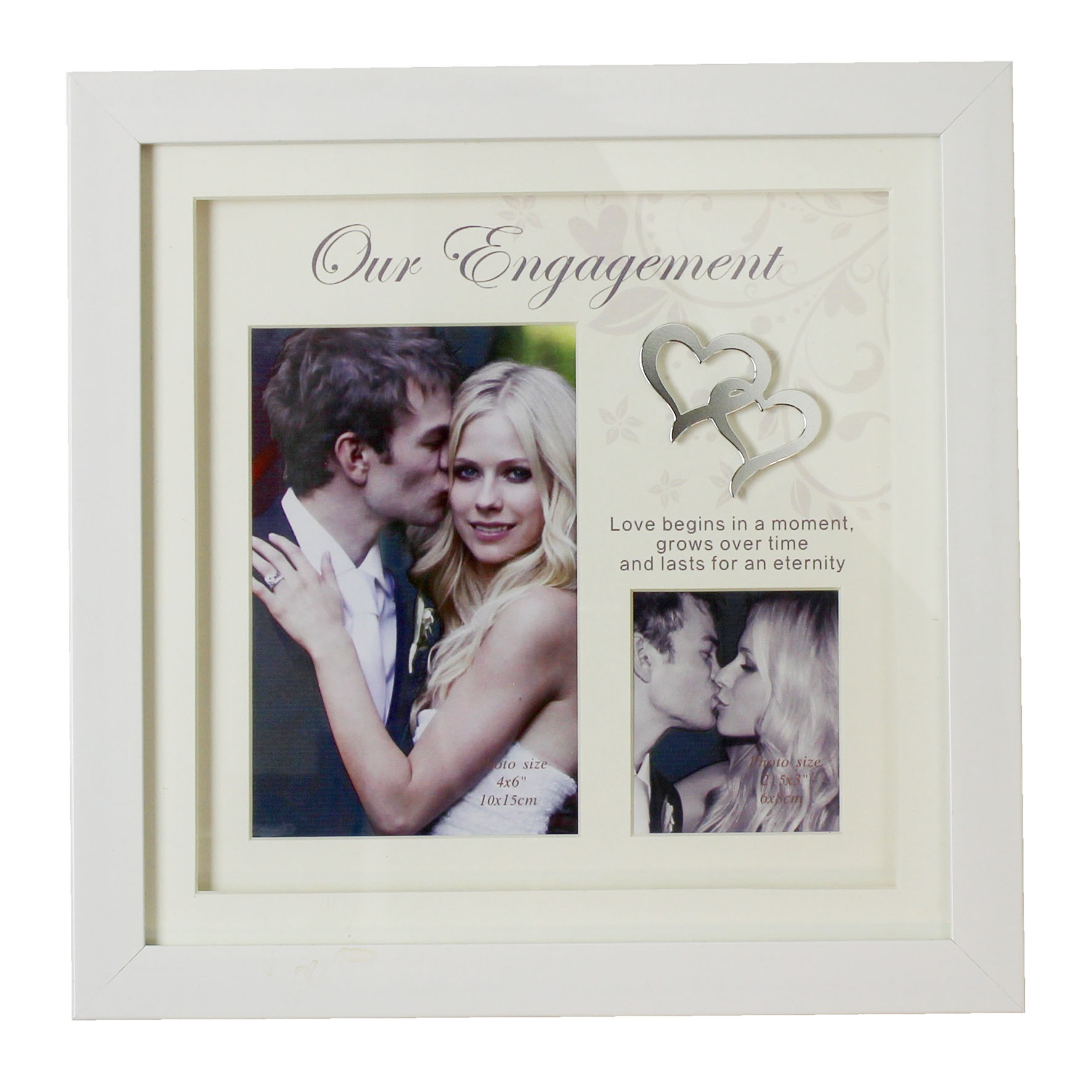 WHITE ENGAGEMENT DOUBLE FRAME