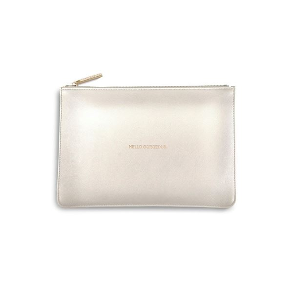 KATIE LOXTON PERFECT POUCH METALLIC WHITE (HELLO GORGEOUS)
