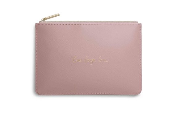 KATIE LOXTON PERFECT POUCHE LIVE LAUGH LOVE PINK