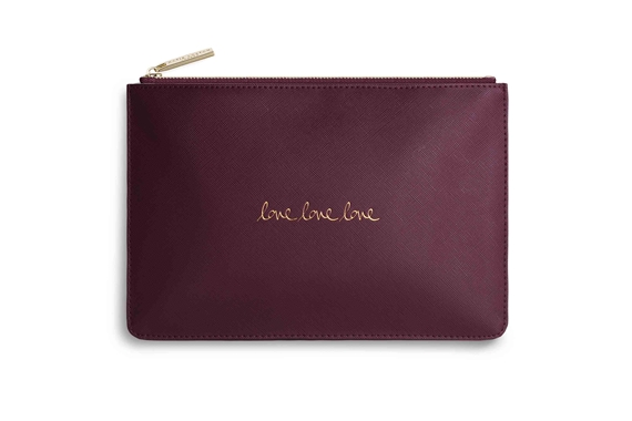 KATIE LOXTON PERFECT POUCH LOVE LOVE LOVE BURGUNDY