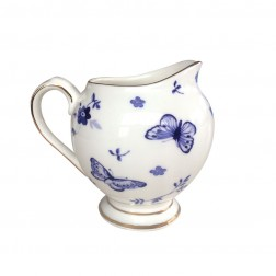 BOMBAY DUCK BLUE AND WHITE BUTTERFLY MILK JUG