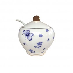 BOMBAY DUCK BLUE AND WHITE BUTTERFLY SUGAR BOWL