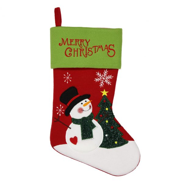 RED/GREEN SNOWMAN STOCKING