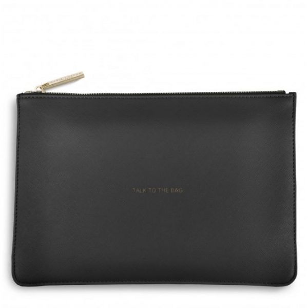 KATIE LOXTON PERFECT POUCH TALK TO THE BAG (DARK CHARCOAL GREY)