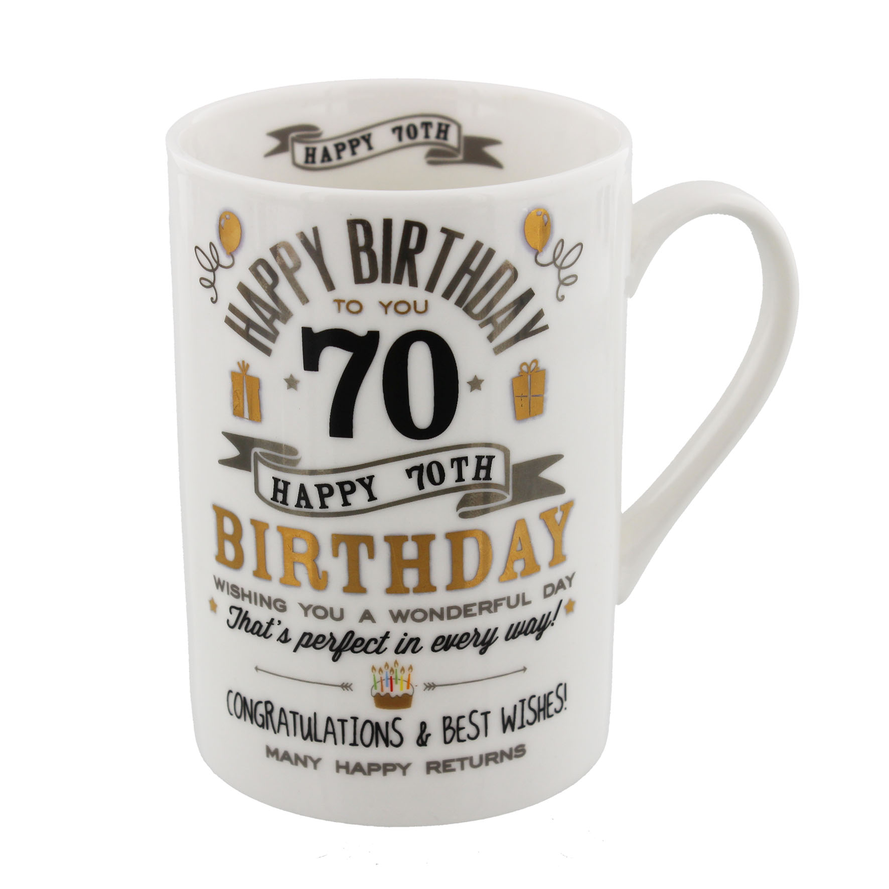 70TH BIRTHDAY MUG BLACKGOLD