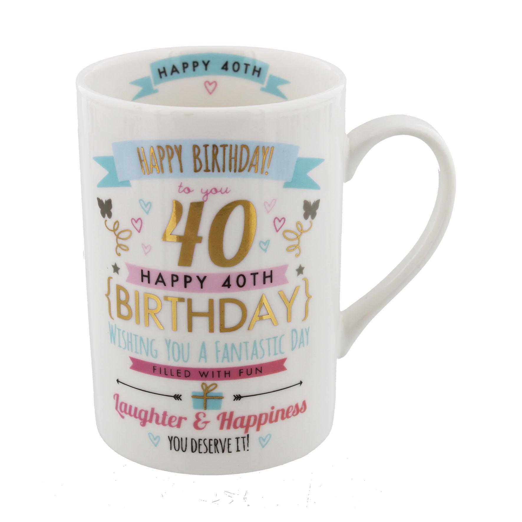 40TH BIRTHDAY MUG PINKu0026GOLD
